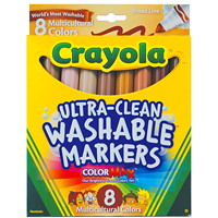 Crayola Ultra-Clean Washable Markers, Assorted Multicultural Colours, Broad Tip, 8/PK