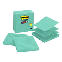 Post-it Super Sticky Pop-Up Notes, Lined, Aqua Wave, 4