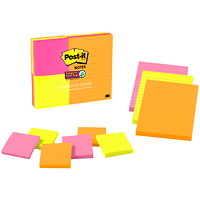 Post It Super Sticky Notes Combo, World of Colour Rio de Janeiro Collection, 9 Pads/PK
