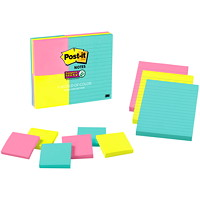 Post It Super Sticky Notes Combo, World of Colour Miami Collection, 9 Pads/PK
