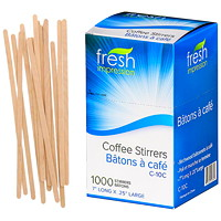 Fresh Impression Wood Coffee Stir Sticks, 7