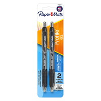 Paper Mate Profile Gel Retractable Pens, Black, Medium 0.7 mm, 2/PK