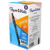Stylos à encre gel à pointe rétractable Profile Paper Mate, noir, pointe moyenne de 0,7mm, boîte de 36