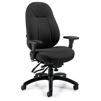Global ObusForme Comfort Mid-Back Multi-Tilter Chair, Echo Black Terrace Fabric