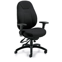 Global ObusForme Comfort Mid-Back Multi-Tilter Chair, With Schukra, Black, Echo Fabric