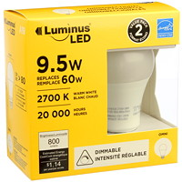 Ampoules à DEL Luminus LED, A19, 9,5 W, intensité réglable, blanc chaud, emb. de 2