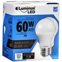 Luminus LED Lightbulb, A19, 9W, Dimmable, Daylight, 2/Pk