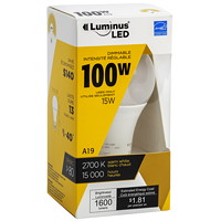 Ampoule à DEL Luminus LED, A19, 15 W, intensité réglable, blanc chaud