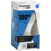 Luminus LED Lightbulb, A19, 15W, Dimmable, Daylight