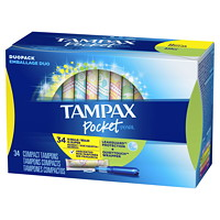Tampons compacts Pocket Pearl Tampax, emballage duode 34