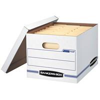 Bankers Box Stor/File Basic-Duty Storage Box, White/Blue, Letter/Legal Size