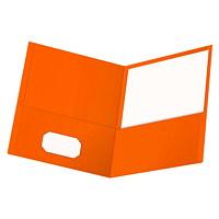 Chemises à deuxpochettes au fini gaufré Oxford, orange, format lettre, boîte de 25