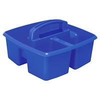 Petit bac de rangement à troiscompartiments Storex, bleu