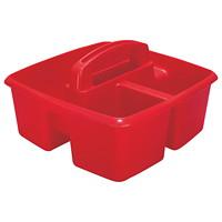 Petit bac de rangement à troiscompartiments Storex, rouge