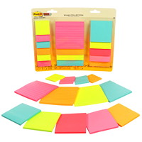 Post-it Super Sticky Notes Combo Pack, Miami Collection, Assorted Sizes, 15 Pads/PK