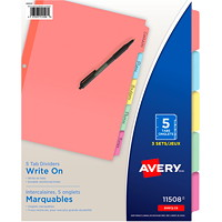 Avery Write-On Tab Dividers, Multicoloured, Letter Size, 5 Tabs/ST, 3 Sets/PK