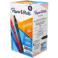 Stylos à encre gel à pointe rétractable Profile Paper Mate, couleurs variées, pointe moyenne de 0,7mm, emb. de 36