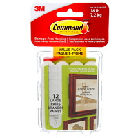 Command Picture and Frame Hanging Strips, White, Large, 4 lb Capacity, 12 Sets/PK