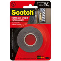 Scotch Extremely Strong Mounting Tape, Black, 30 lb Capacity