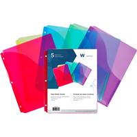 Winnable Slant Binder Pockets, Assorted Colours, Letter Size, 5/PK