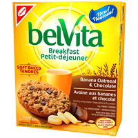 Christie Belvita Breakfast Banana Oatmeal Chocolate Cereal Biscuits, 50 g, 5/BX - Ontario and Quebec Residents Only