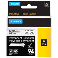 Dymo Rhino Permanent Poly Industrial Label Tape, White/Black Type, 1/2