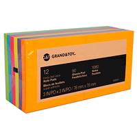 Feuillets super collants Grand & Toy, 3po x 3po, couleurs profondes variées, blocs de 90 feuillets, emb. de 12