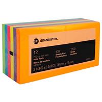 Feuillets éclair adhésifs 3po x 3po Grand & Toy, couleurs profondes variées, blocs de 100, emb. de 12