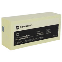 Grand & Toy Self-Stick Notes, Yellow, Unlined, 1 3/8