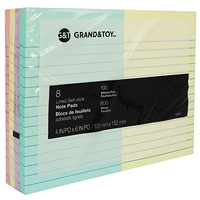 Grand & Toy Self-Stick Notes, Assorted Pastel Colours, Lined, 4