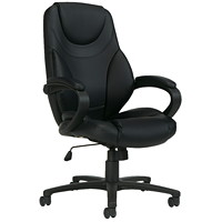Offices To Go Brighton High Back Tilter Chair, Black Luxhide Bonded Leather Seat and Back