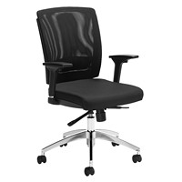 Offices To Go Granby High-Back Synchro-Tilter Chair, Black Quilt Fabric Seat and Mesh Back