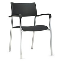 Offices To Go Dori 2 Stacking Armchair, Black Polypropylene Seat and Back