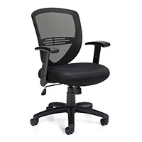 Offices To Go Petra Mid-Back Tilter Chair, Black Fabric Seat and Mesh Back