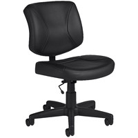 Offices To Go Yoho Low-Back Armless Task Chair, Black, Luxhide Bonded Leather