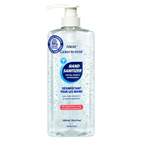 zytec Germ Buster Gel Hand Sanitizer with Aloe, Vitamin E and Moisturizers, 70% Alcohol, Pump Bottle, 1,030 mL