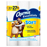 Charmin 2-Ply Essentials Soft Bathroom Tissue 12=27, White, 200 Sheets/Roll, 12/PK