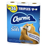 Charmin 2-Ply Ultra Soft Bathroom Tissue 12=36, White, 198 Sheets/Roll, 12/PK