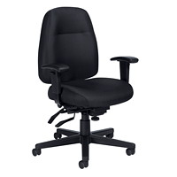 Offices To Go Full-Time Mid-Back Multi-Tilter Ergonomic Chair, Black Quilt Fabric Seat and Back