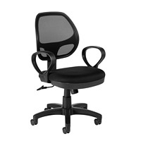 Offices To Go Geo Low-Back Tilter Office Chair, Black, Fabric Seat/Mesh Back
