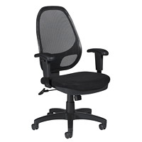 Offices To Go Geo High-Back Synchro-Tilter Ergonomic Chair, Black, Fabric Seat/Mesh Back