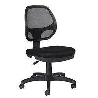 Offices To Go Geo Armless Task Office Chair, Black, Fabric Seat/Mesh Back