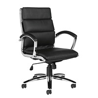 Offices to Go Retro High-Back Tilter Chair, Black, Luxhide Bonded Leather