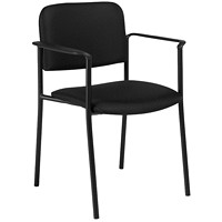 Offices To Go Minto Low-Back Stacking Armchair, Ebony Black Jenny Fabric Seat and Back