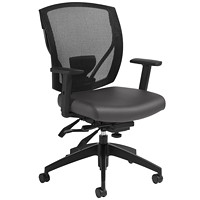Offices To Go Ibex Mid-Back Multi-Tilter Ergonomic Chair, Charcoal Grey Luxhide Bonded Leather Seat/Black Mesh Back