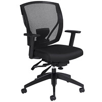 Offices To Go Ibex Mid-Back Multi-Tilter Ergonomic Chair, Ebony Black Jenny Fabric Seat/Mesh Back