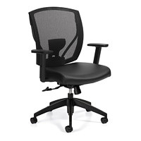 Offices To Go Ibex Mid-Back Tilter Chair, Black Luxhide Bonded Leather Seat/Mesh Back