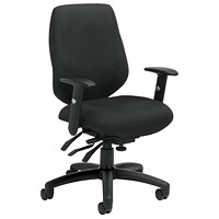 Offices To Go Six 31 Mid-Back Multi-Tilter Ergonomic Chair, Black Quilt Fabric