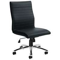 Office To Go Ultra Armless High-Back Tilter Chair, Black, Bonded Luxhide Leather