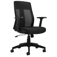 Offices To Go Flint High-Back Synchro-Tilter Office Chair, Black, Quilt Fabric Seat/Mesh Back